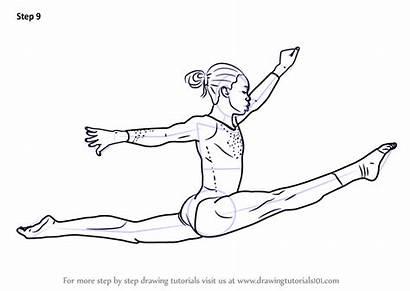 Gymnast Draw Step Gymnastics Drawing Coloring Sketch