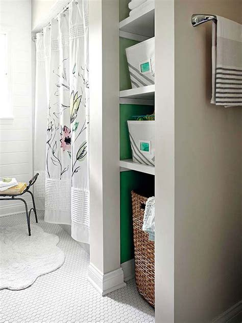 bath makeovers   open shelving nooks  hampers