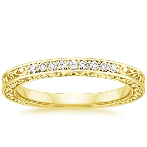 delicate antique scroll ring 1 15 ct tw in 18k yellow gold