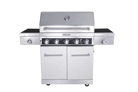 Kitchenaid Gas Grill Home Depot by Kitchenaid 5 Burner Gas Bbq With Side Sear Burner And Side