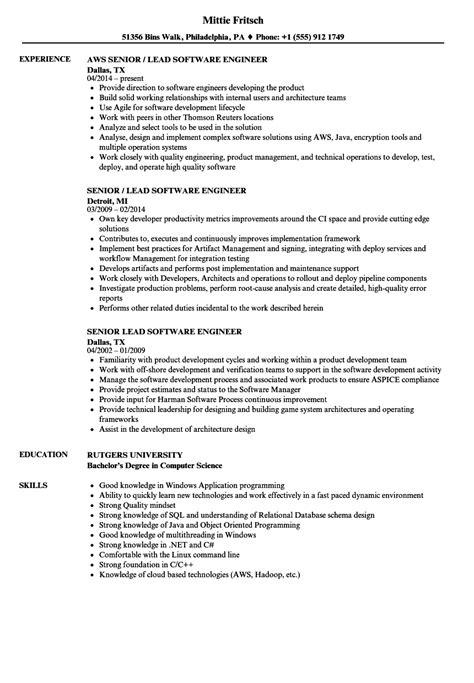 senior lead software engineer resume samples velvet jobs