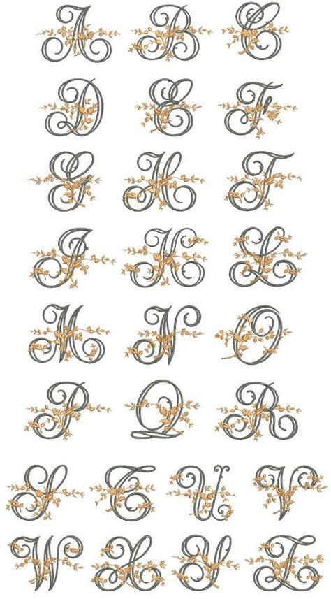 fancy floral vine monogram embroidery alphabet files
