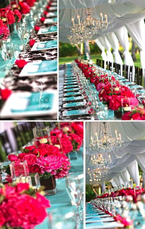 turquoise and pink wedding reception flowers in 2019
