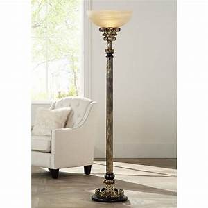 Florencio antique gold torchiere floor lamp 4c504 for 4 bulb antique floor lamp