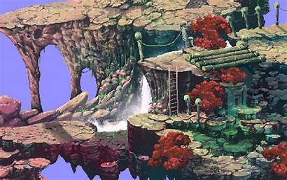 Waterfall Pixel Landscape Animated Animation Deviantart Deleted
