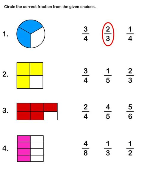 kindergarten fraction worksheets beginning fractions