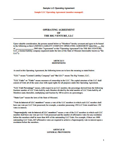 Operating Agreement Template Llc Operating Agreement Template Free Create