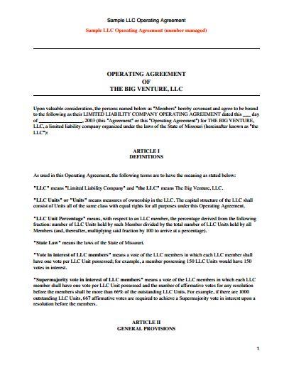 llc operating agreement template   create