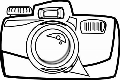 Camera Cartoon Clipart Cliparts Coloring Line Pages