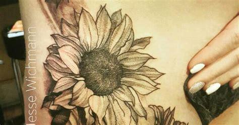 whip shade black  grey sunflower tattoo tattoo