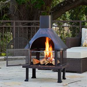 Outdoor, Fire, Pit, Vintage, Brushed, Bronze, Wood, Decor, Patio