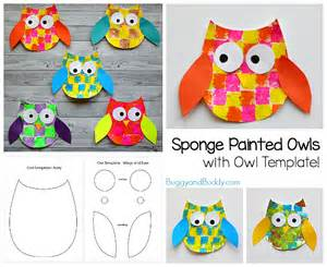 sponge painted owl craft for with owl template buggy and buddy