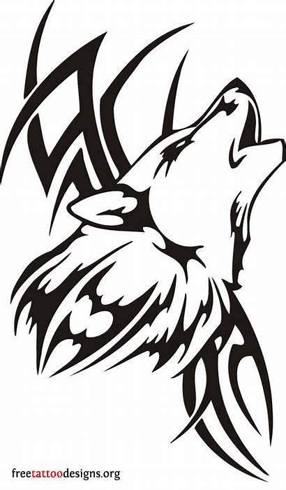 Wolf Tribal Tattoo Tattoos Stencil Designs Roaring