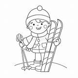 Cartoon Boy Skiing Coloring Winter Skis Sports Outline Illustrations Vectors Clipart sketch template
