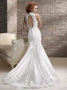 tulle and embellished lace wedding dress with keyhole back With lace keyhole wedding dress