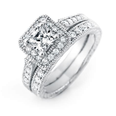 princess cut halo heirloom cz wedding ring set ebay