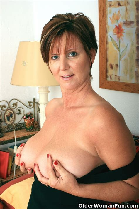 Gorgeous Granny Joy In Black Stockings Nude Big Tits