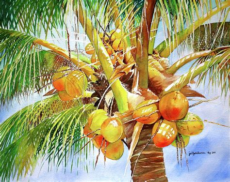 coconut tree painting by jelly starnes