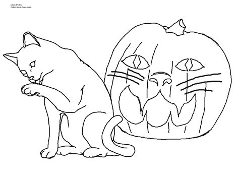 Halloween Cat Jack-o-lantern Coloring Page