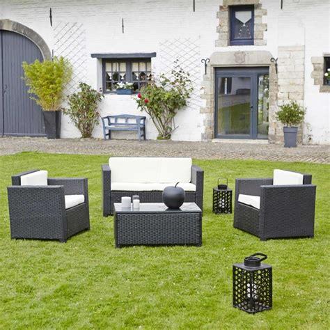 salon jardin resine tressee salon de jardin en r 233 sine tress 233 e celio noir teckandco