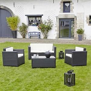 Salon De Jardin En Rsine Tresse CELIO Noir Teckandco
