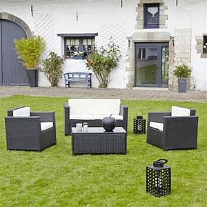 Resine Salon De Jardin : salon de jardin en r sine tress e celio noir teckandco ~ Dailycaller-alerts.com Idées de Décoration