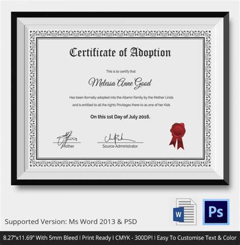 sample adoption certificates sample templates