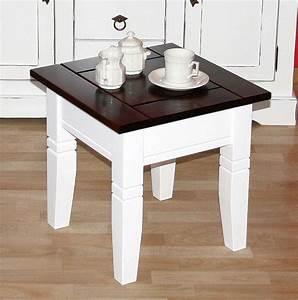 Beistelltisch Holz Weiß : couchtisch quadratisch beistelltisch 45x45cm holz massiv wei kolonial ~ Indierocktalk.com Haus und Dekorationen