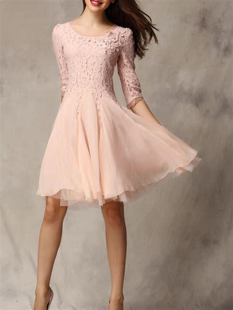 pastel pink dress pink lace panel dress choies