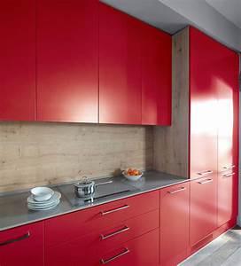 cuisine rouge peinture mur With peinture rouge pour cuisine