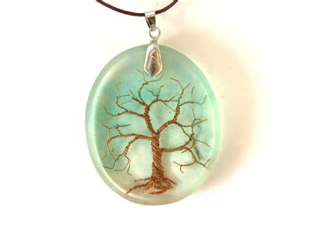 Tree Resin Necklace Copper Wire Necklace Tree of life