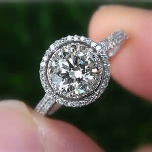 curved engagement ring 1 00 carat halo pave antique by beautifulpetra