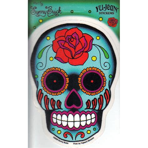 sugar skull  rose art decal window sticker