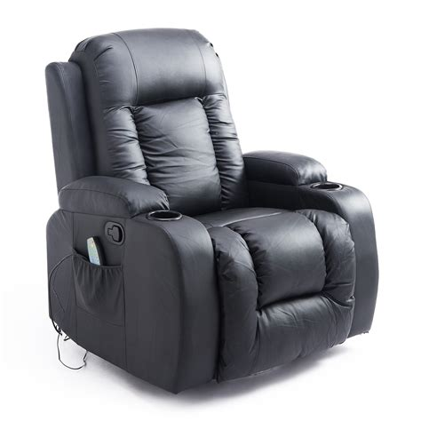 heated recliner homcom pu leather heated vibrating massage recliner chair with remote black chairs