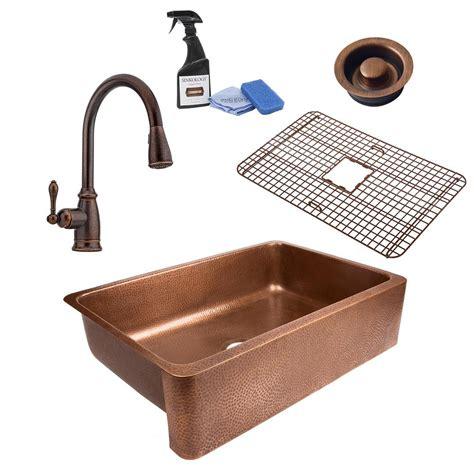 Copper Kitchen Sink Faucet by Sinkology Lange All In One Farmhouse Copper Sink 32 In