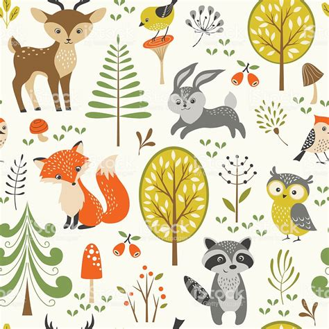Cute Forest Pattern Stock Vector Art More Images