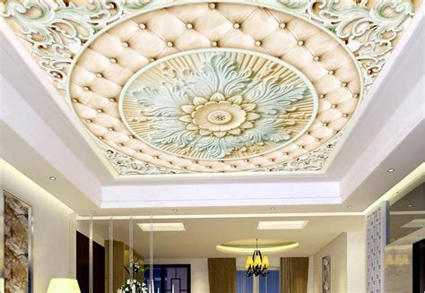 ceiling wall paper flower relief wallpaper  walls