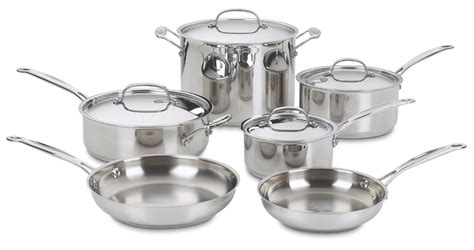 cookware cuisinart pans pots stainless sets piece steel chef saucepans pan cooking utensils kitchen ss aluminum quality oven rated bakeware