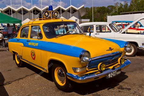 Old Car Show On Retrofest. Soviet Police Car Pobeda