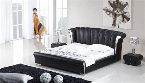 piece vela modern wing genuine black leather bedroom set