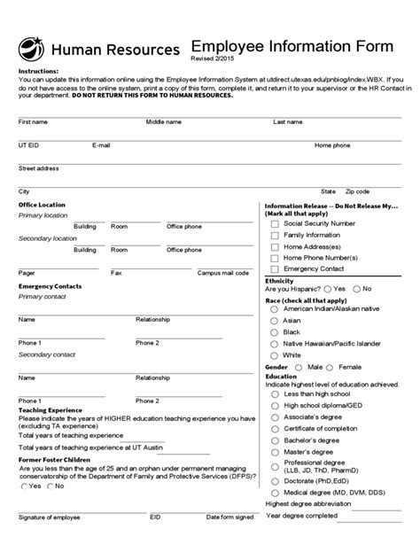 employee information form pdf general employee information form 3 free templates in