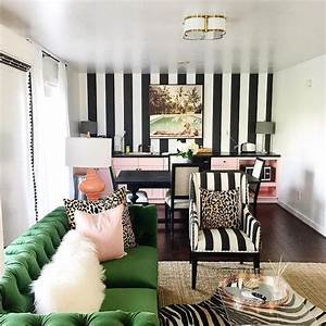 Black, And, White, Striped, Walls, With, Emerald, Green, Tufted, Sofa, -, Hollywood, Regency, Library