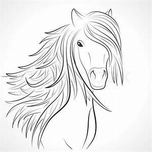 Pferdekopf Schwarz Weiß : skizze der pferdekopf mit fliegenden stock vektor ~ Watch28wear.com Haus und Dekorationen