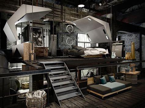 Industrial Loft by 22 Mind Blowing Loft Style Bedroom Designs Industrial