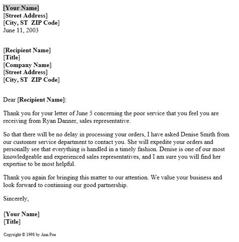 service complaint resolution letter template