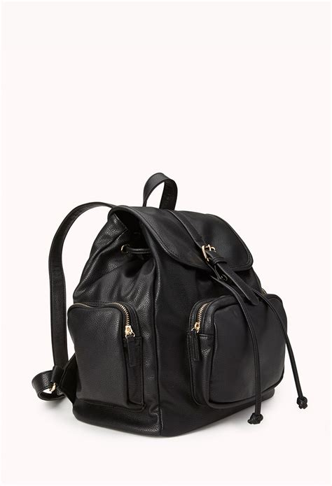 lyst   cool girl faux leather backpack  black