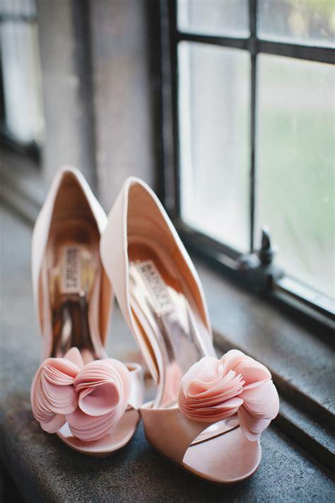 pale pink badgley mischka bridal heels elizabeth anne