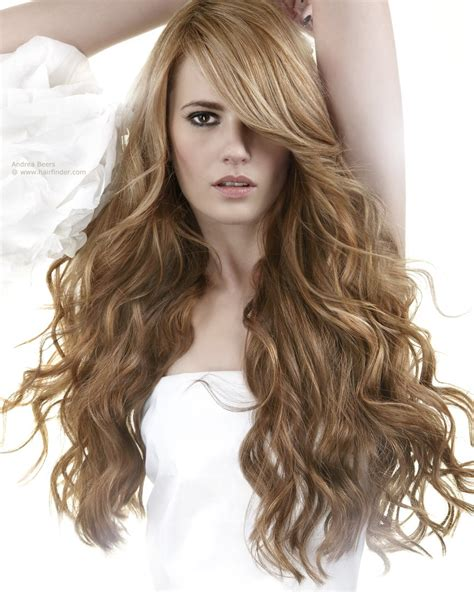 long hairstyle  waves   heavy side part