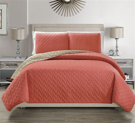 Coverlet Quilts by Embossed Coral Reversible Bedspread Quilt Set
