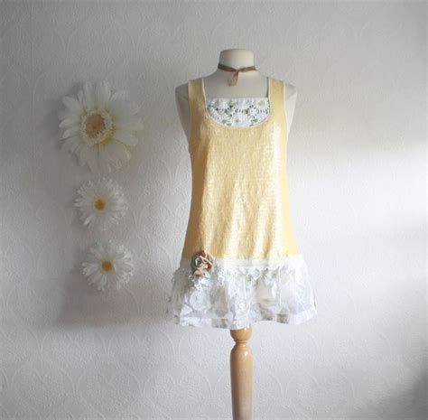 upcycled shabby chic upcycled clothing butter yellow women s top shabby chic shirt vintage lace sequin tunic eco